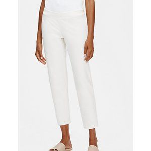Eileen Fisher Stretch-Crepe Slim Ankle White Pants